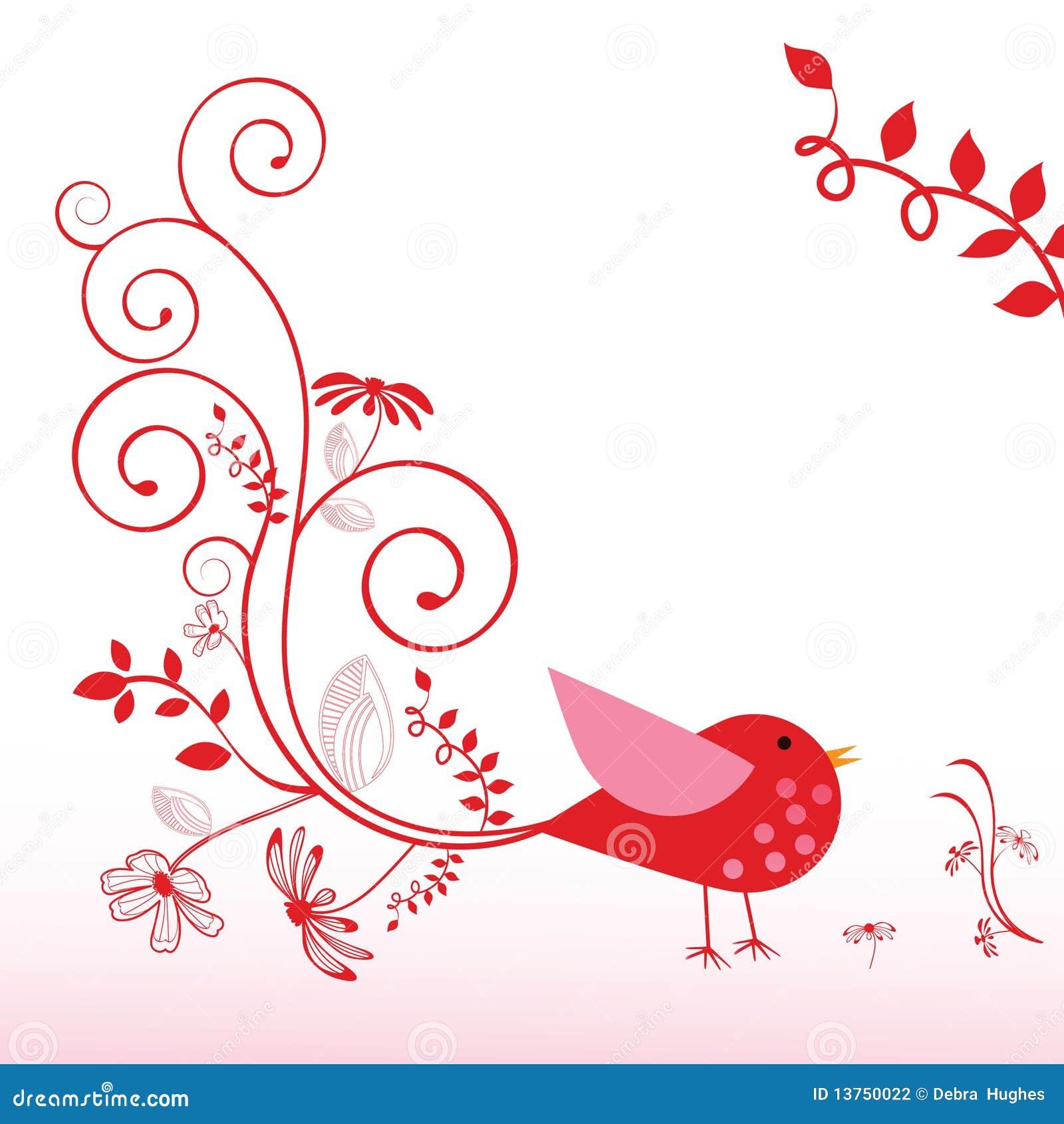 Whimsical Bird Decorative Elements Happy