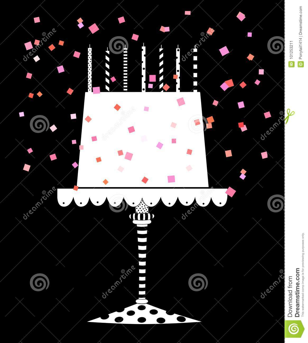 Stupendous Cute Festive Birthday Cake With Confetti Stock Illustration Funny Birthday Cards Online Alyptdamsfinfo