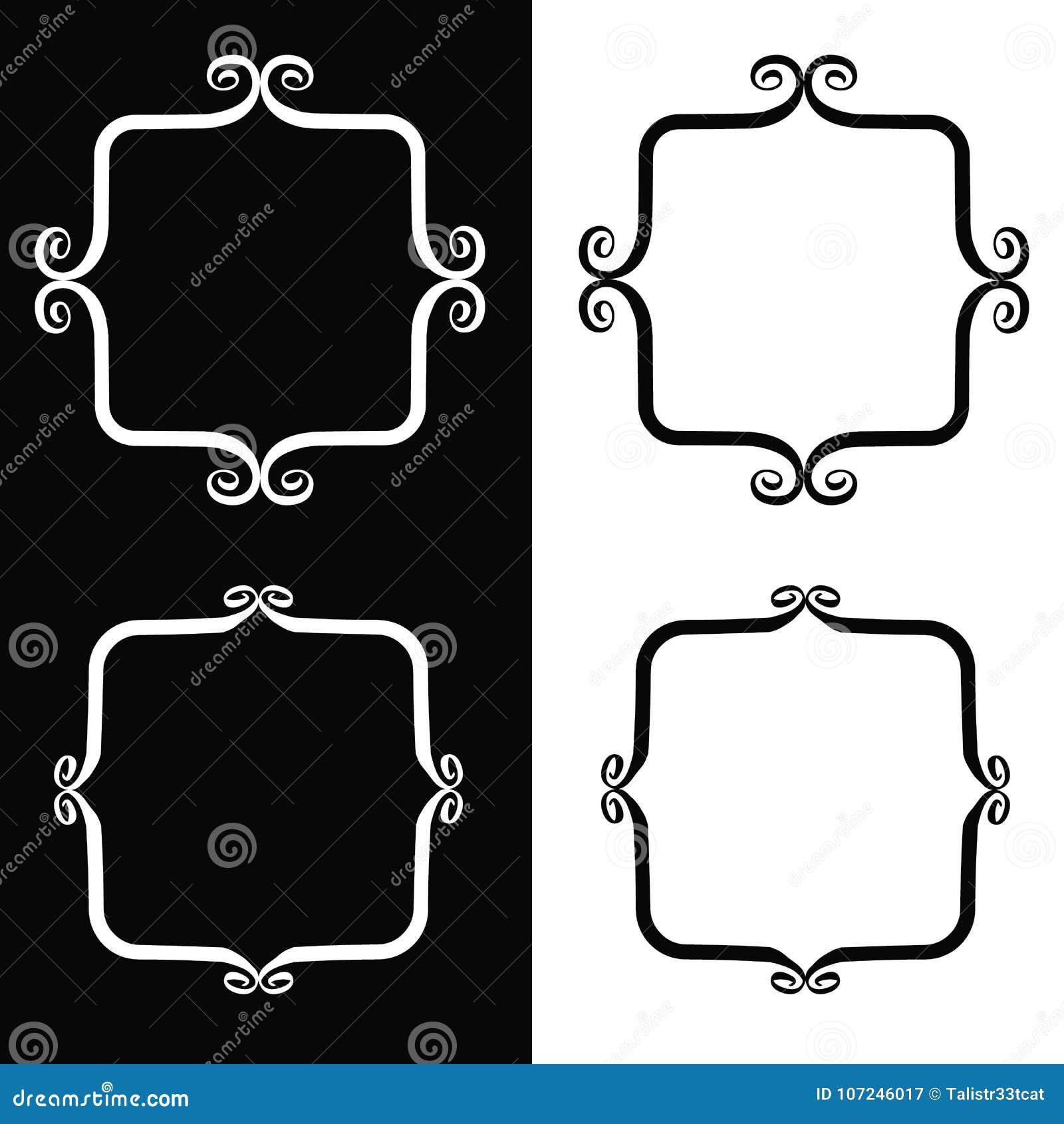 Whimsical brush frames stock vector. Illustration of line - 107246017