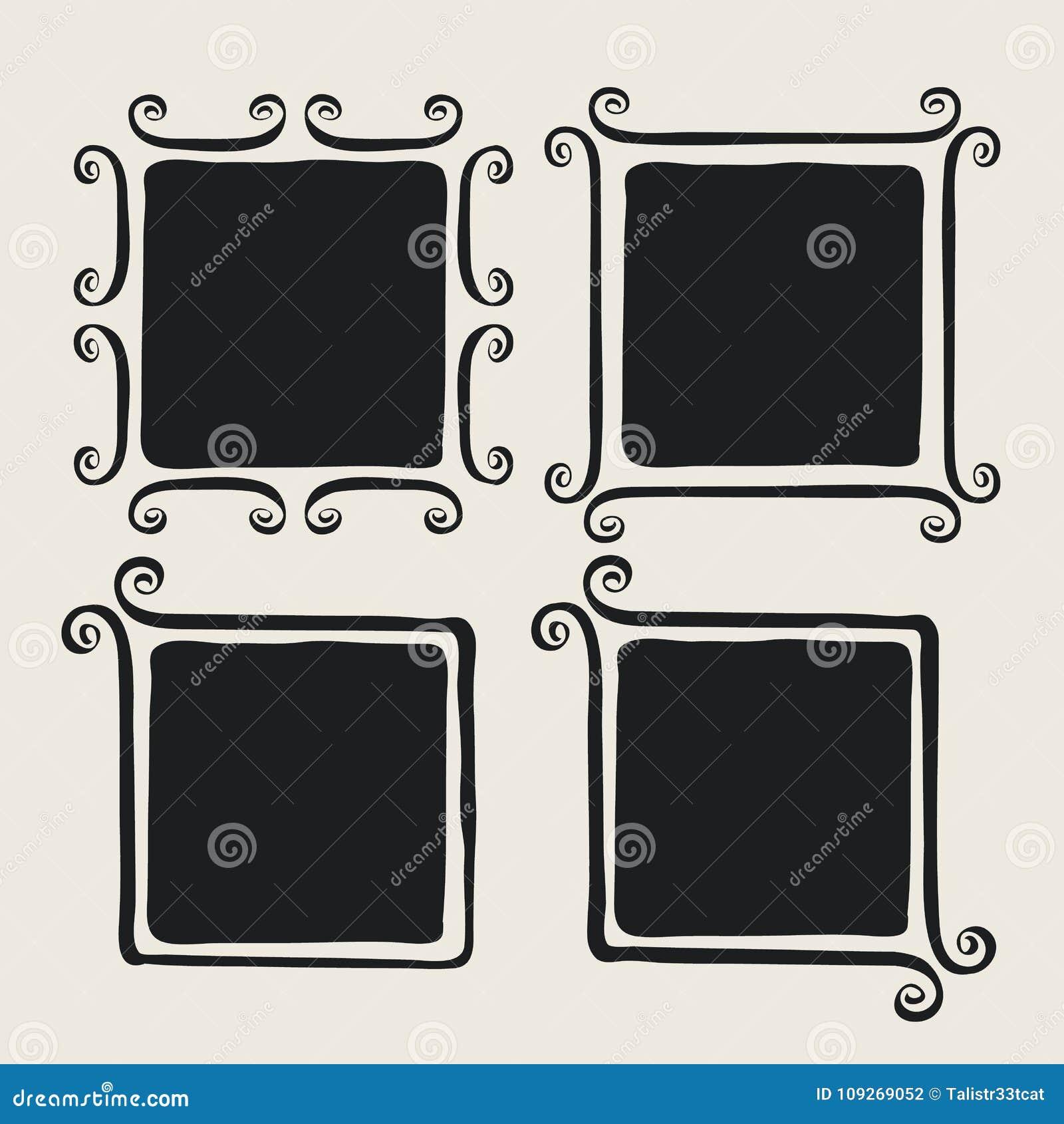 Whimsical Brush Painted Frames Stock Vector - Illustration of menu ...