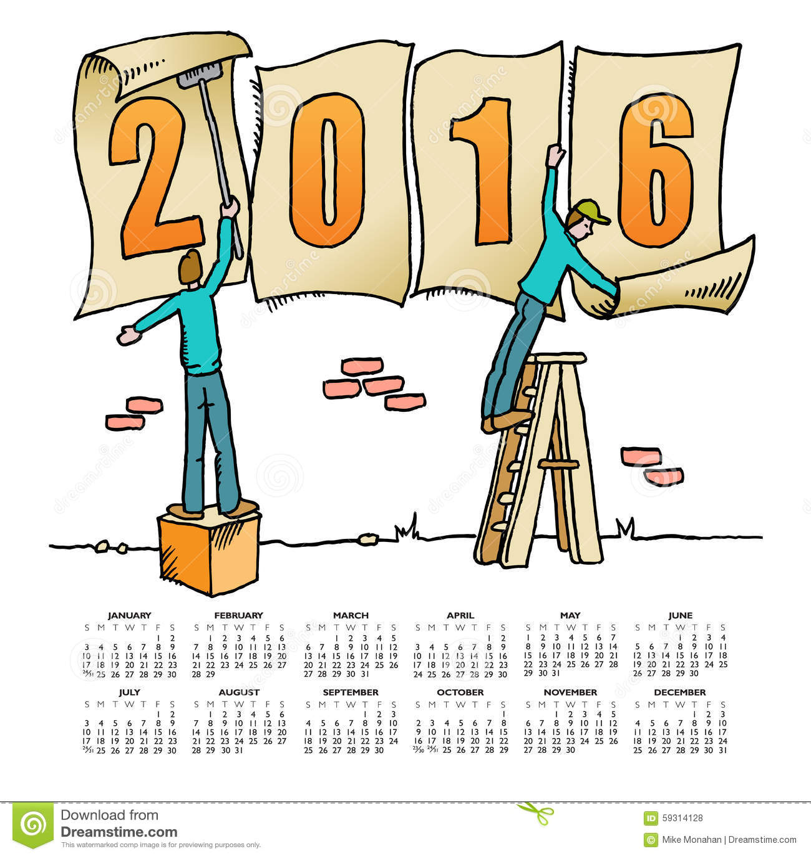 Calendar Drawing Cartoon : Whimsical drawing calendar vector illustration
