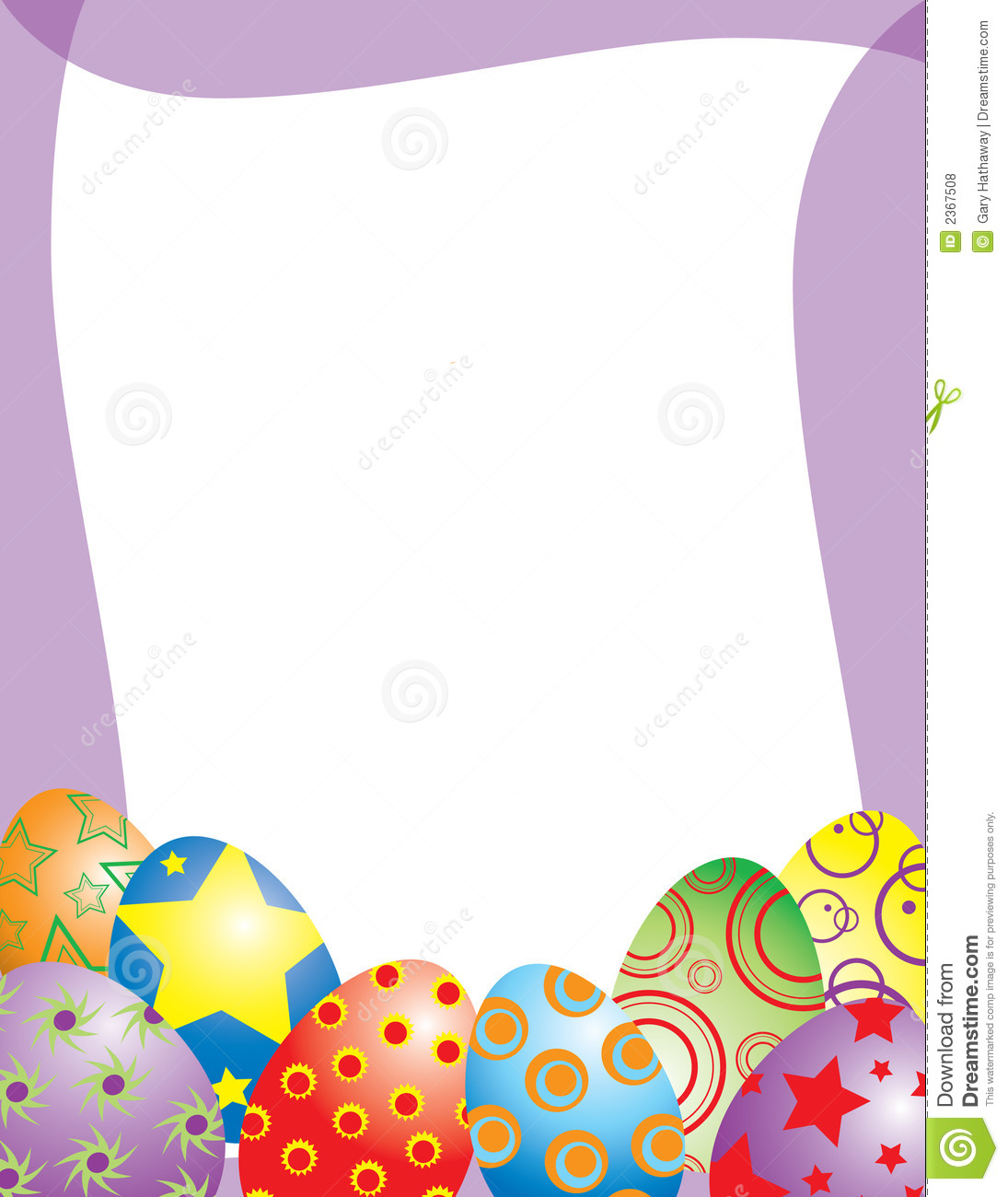 An illustrated frame featuring brightly colored easter eggs perfect