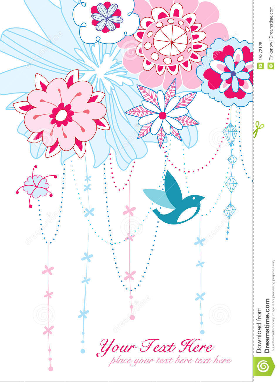 whimsical flowers and bird stock vector  image of garden