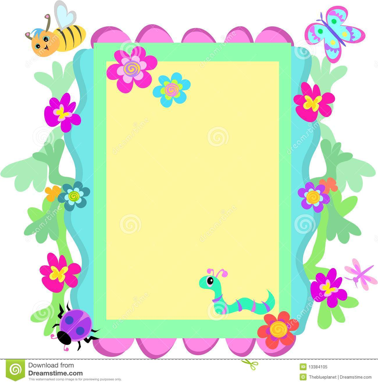 ... similar stock images of ` Whimsical Frame of Flowers and Insects