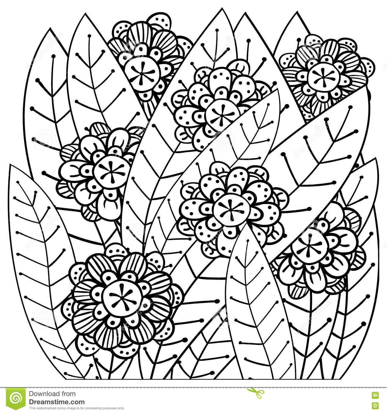 Whimsical Garden Adult Coloring Book Page Stock Vector