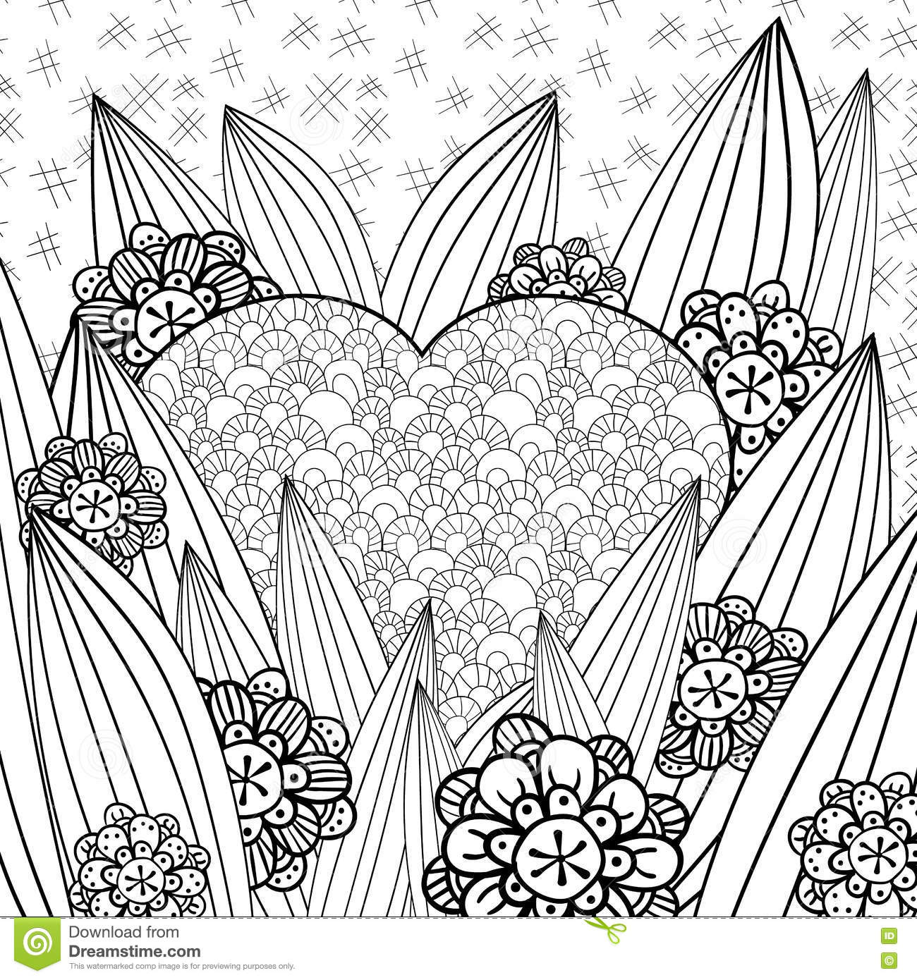 Whimsical Garden Adult Coloring Page Stock Vector
