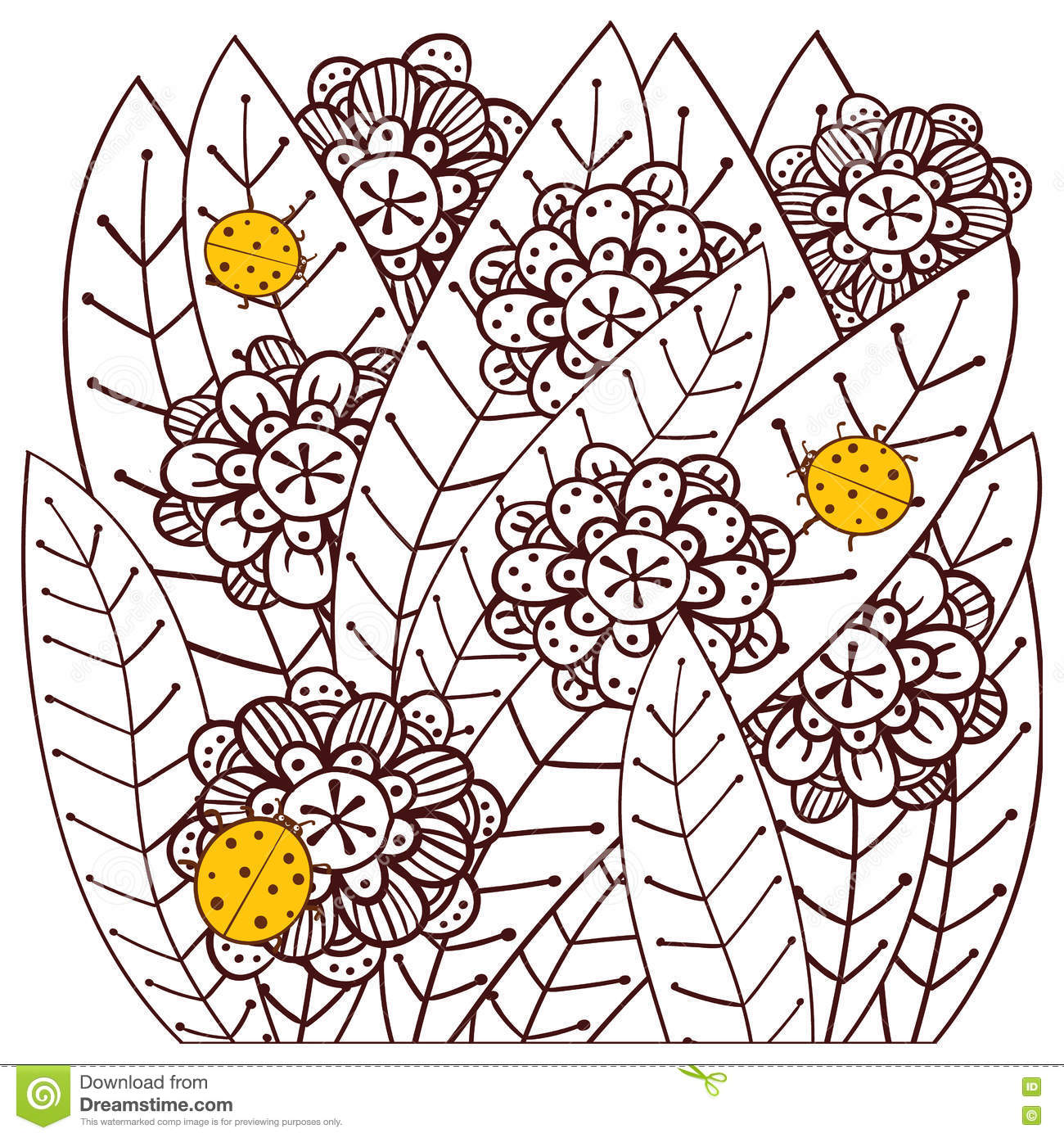 whimsical garden with ladybugs coloring book page vector