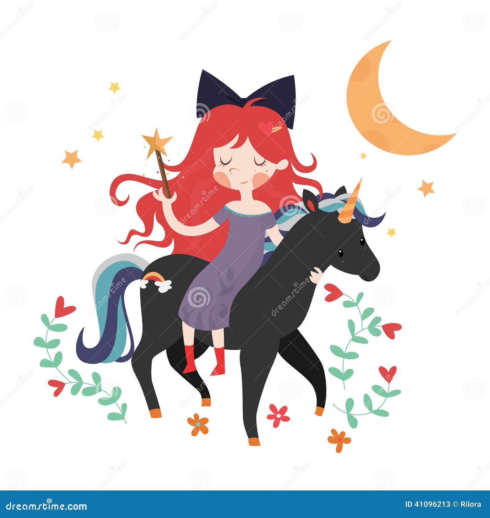whimsical girl on black unicorn stock vector