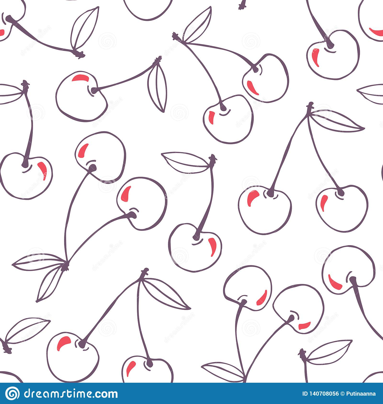 Whimsical hand-drawn doodle cherries vector seamless pattern background. Line Art Summer Fruits