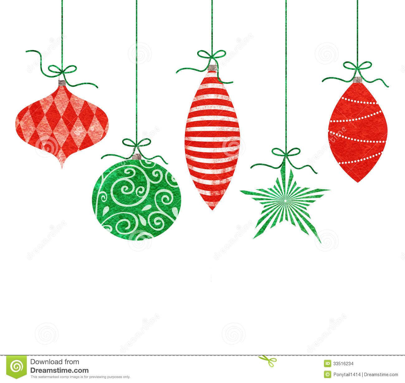 Whimsical Hanging Christmas Ornaments Stock Images - Image: 33516234