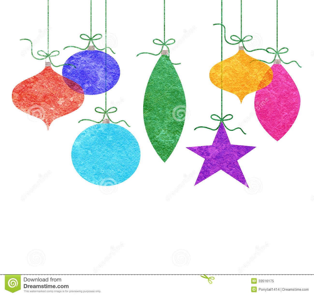 Whimsical Hanging Christmas Ornaments Royalty Free Stock Photo ...