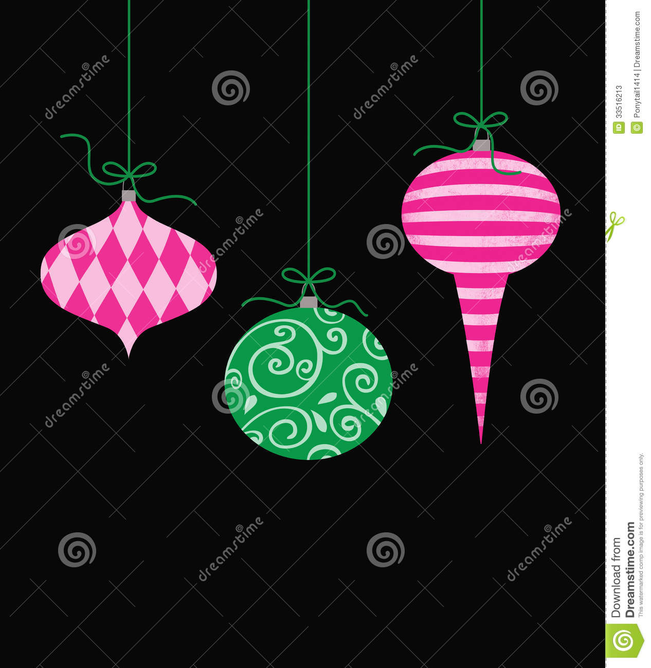 Whimsical Christmas Ornaments.Whimsical Hanging Christmas Ornaments Stock Illustration