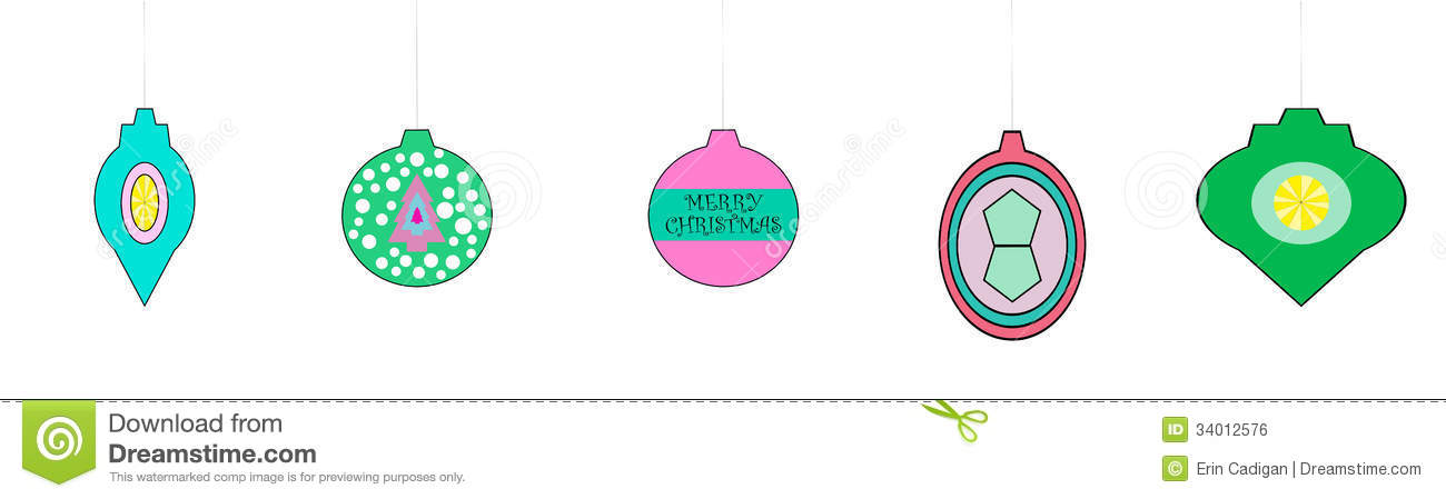 Whimsical Retro Looking Christmas Ornaments Royalty Free Stock ...