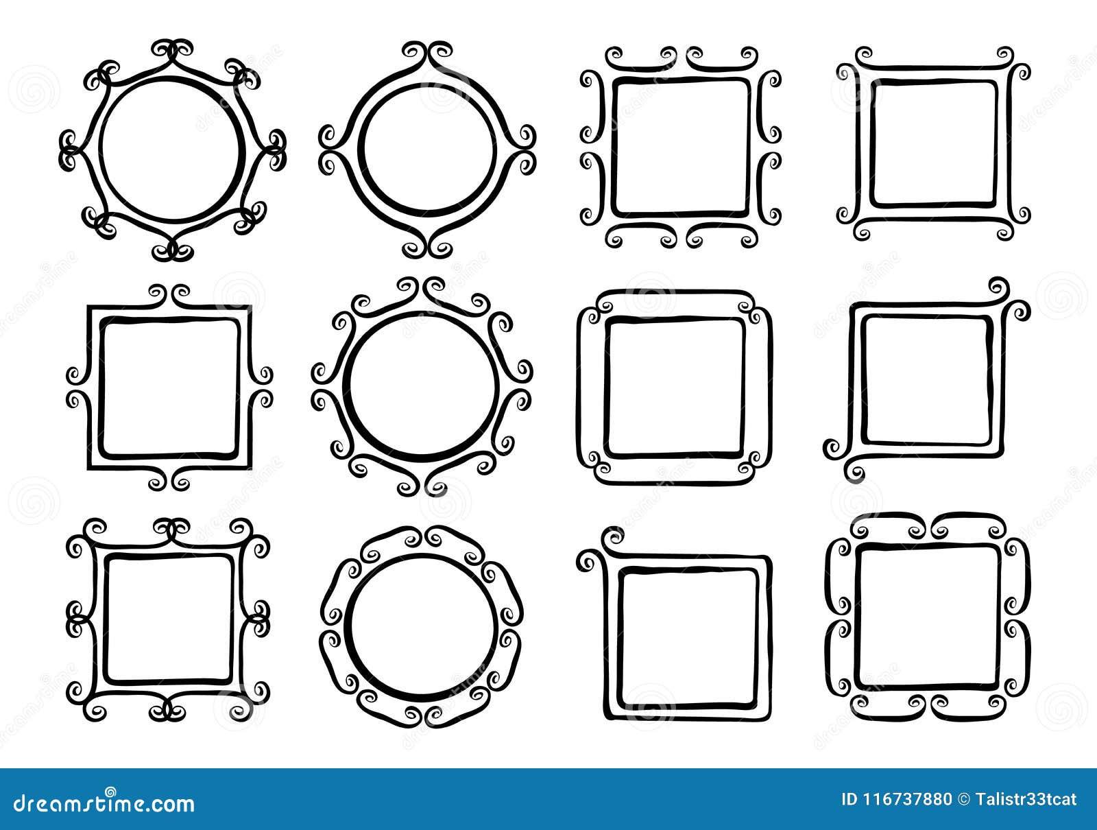 Whimsical swirl frames stock vector. Illustration of divide - 116737880