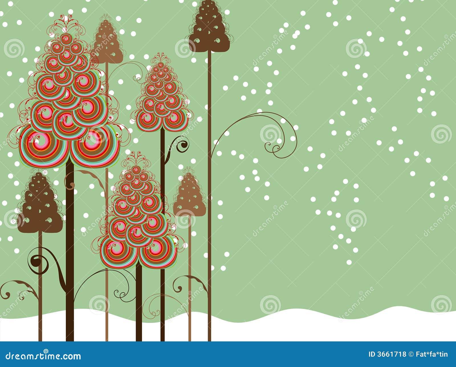 Whimsical swirls winter trees