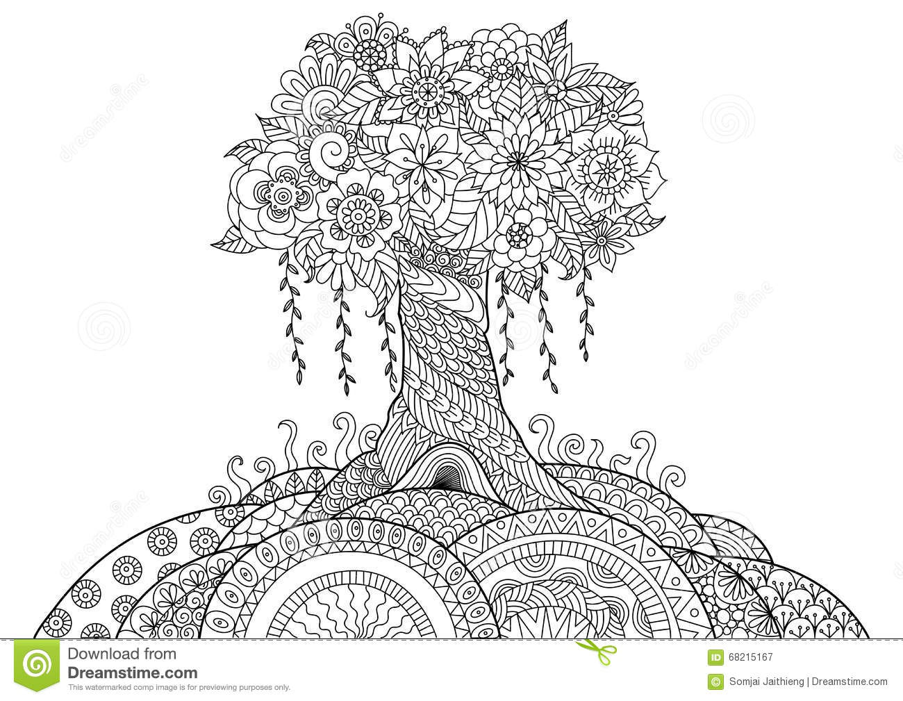 Whimsical Tree Stock Vector Image