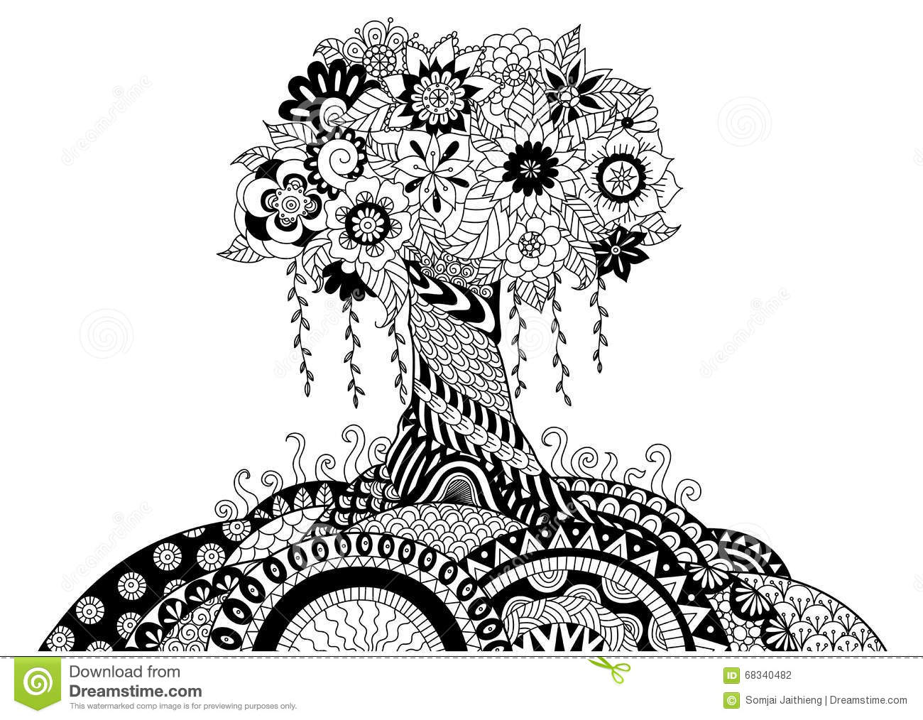 Whimsical Tree Line Art Design For Coloring Book And Other ...