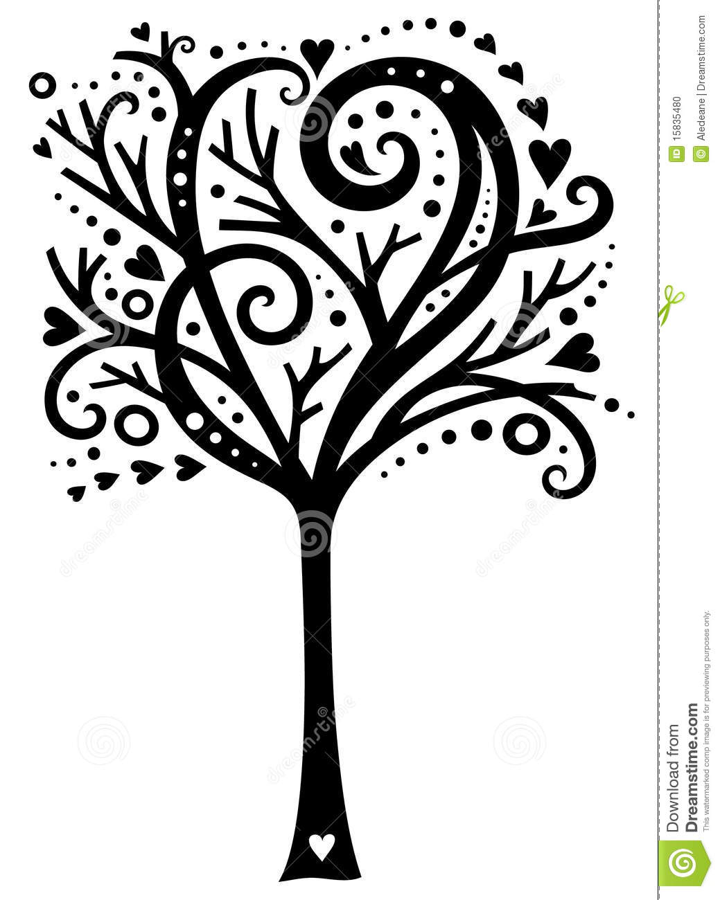 Whimsical Tree Of Love Stock Vector Illustration Of Swirly 15835480