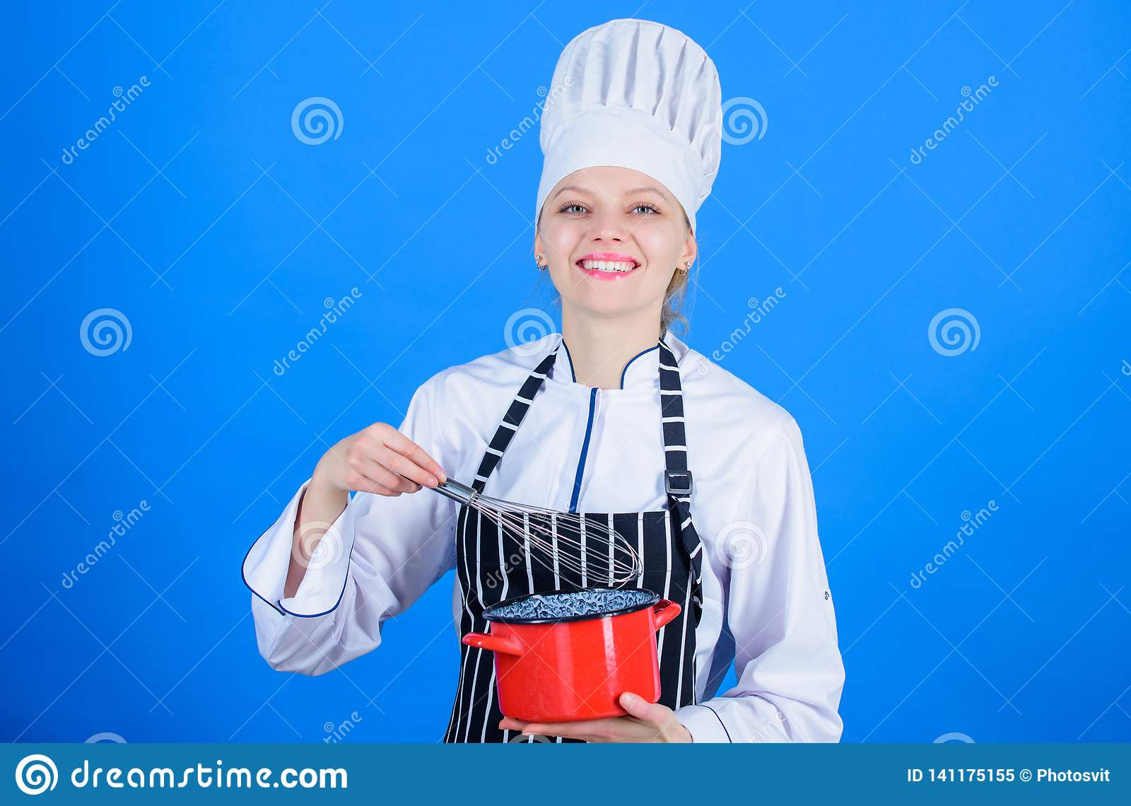 Whipping cream tips and tricks. Woman professional chef hold whisk and pot. Whipping like pro. Girl in apron whipping