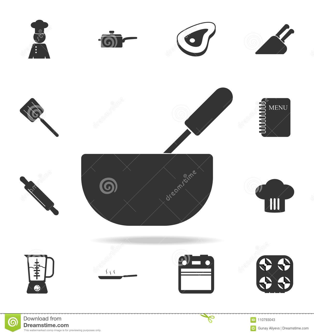 Whisk and bowl or mixing icon set of chef and kitchen element set of chef and kitchen element icons premium quality graphic design signs and symbols collectio buycottarizona Choice Image