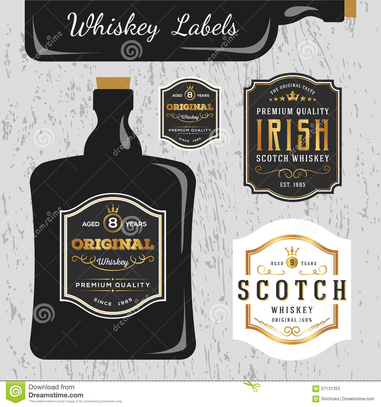Whiskey Brands Label Design Template Stock Vector Image