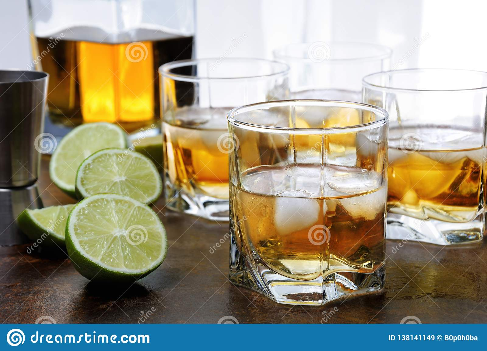 Whiskey With Ginger Ale And Lime Stock Image Image Of Amber