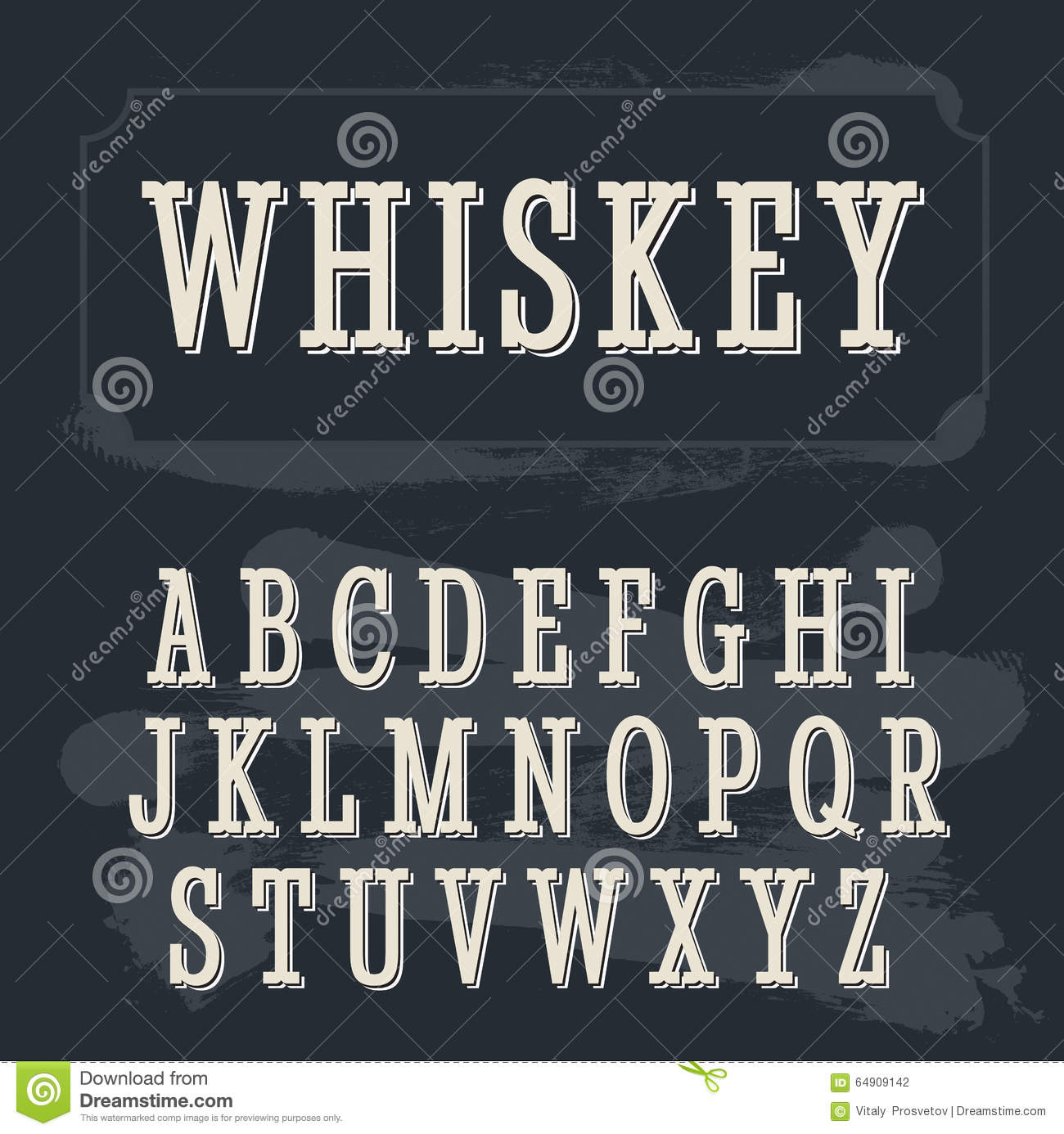 Whiskey Label Font. Vintage Font. Stock Vector ...