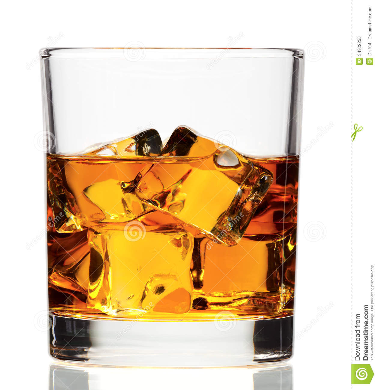 Whiskey on the rock on white background in studio with clipping path.