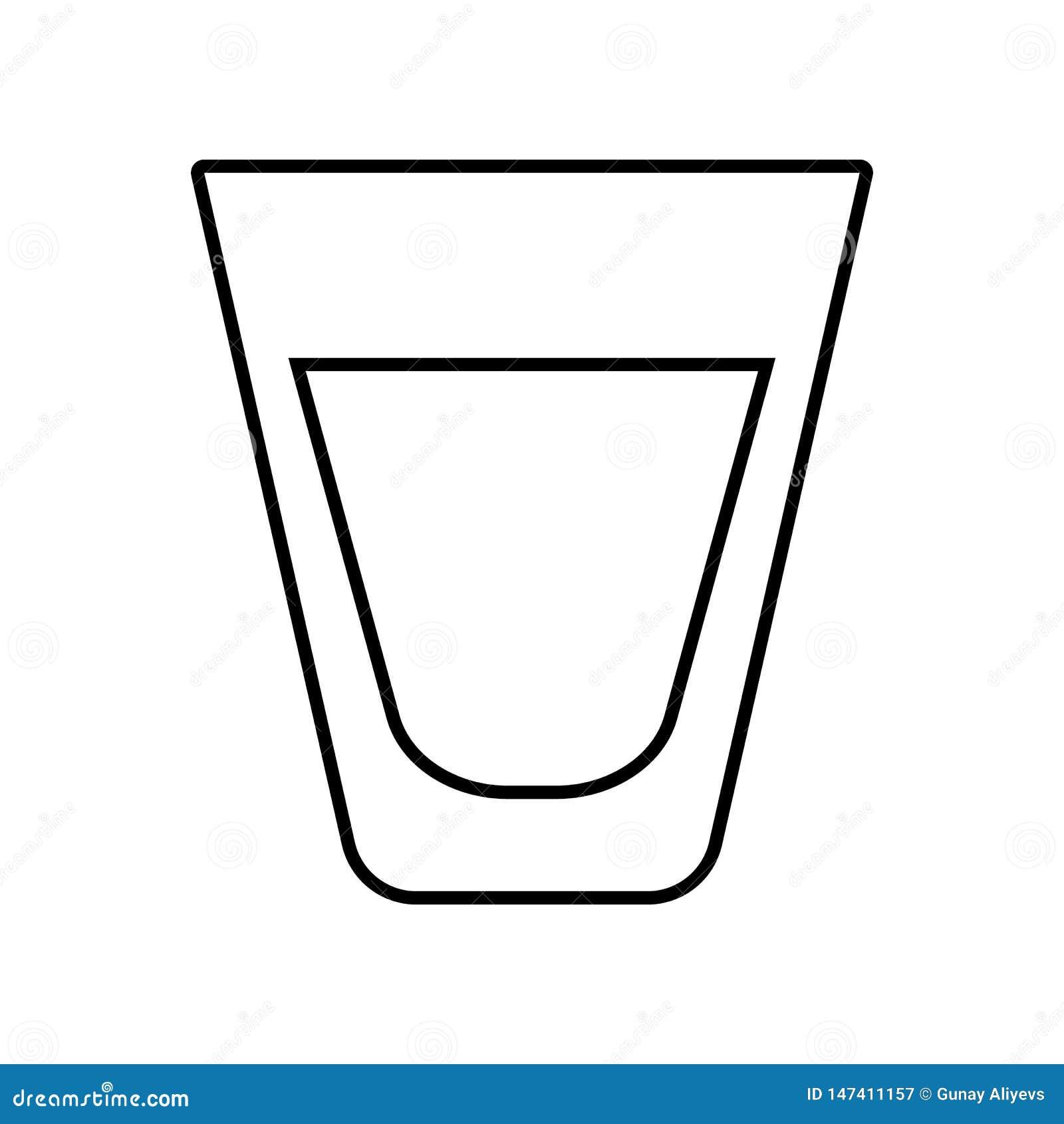 Whiskey Skotsk whiskyexponeringsglassymbol E ?versikt tunn linje symbol f?r websitedesign och