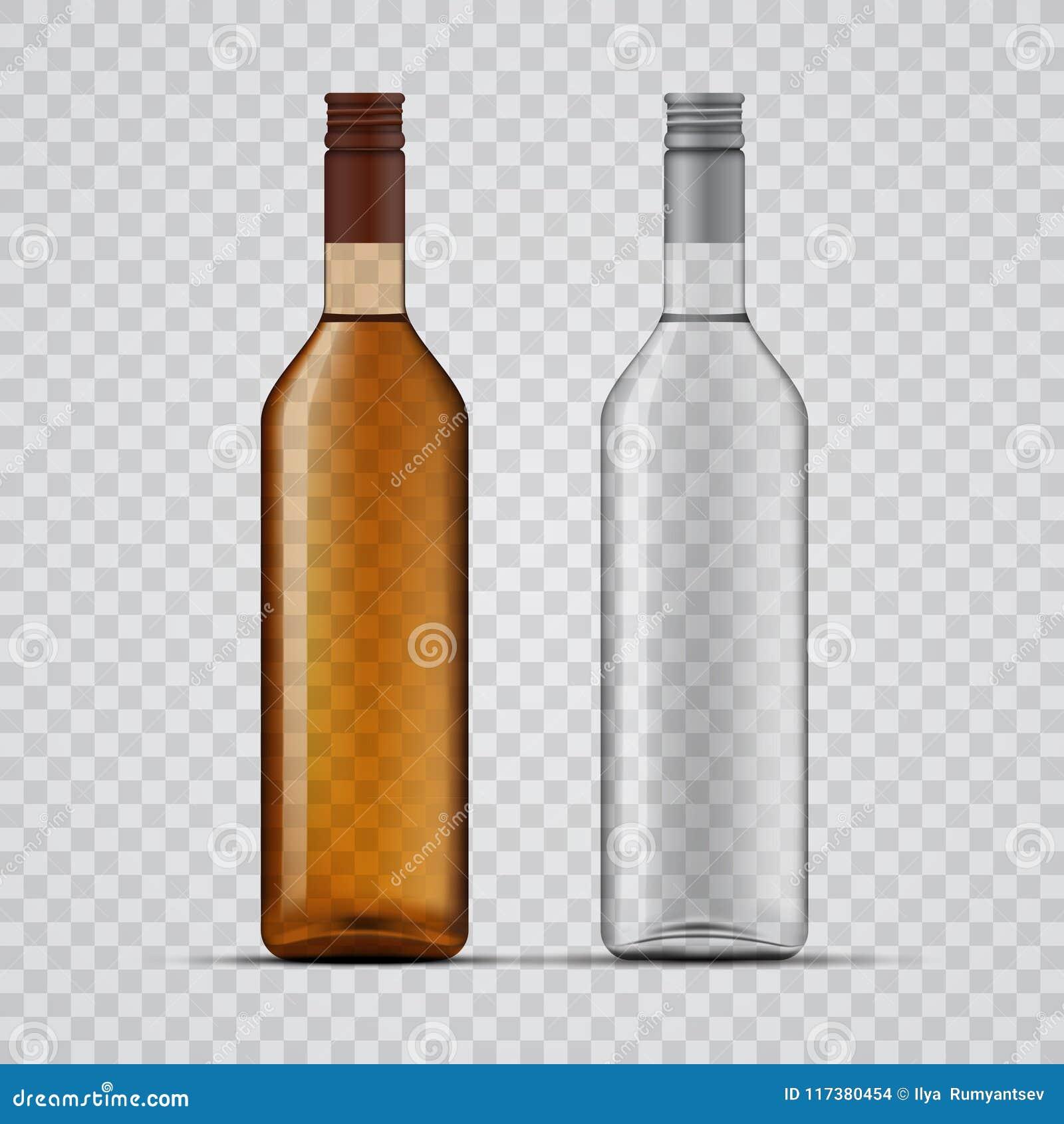 whiskey and vodka transparent bottles design stock vector