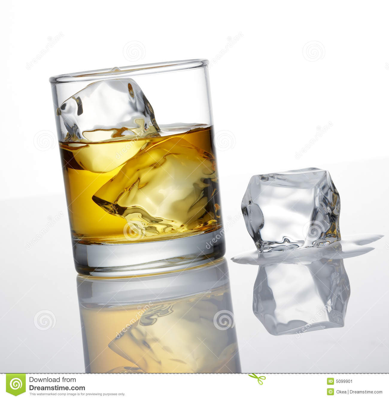 Whisky and ice cube
