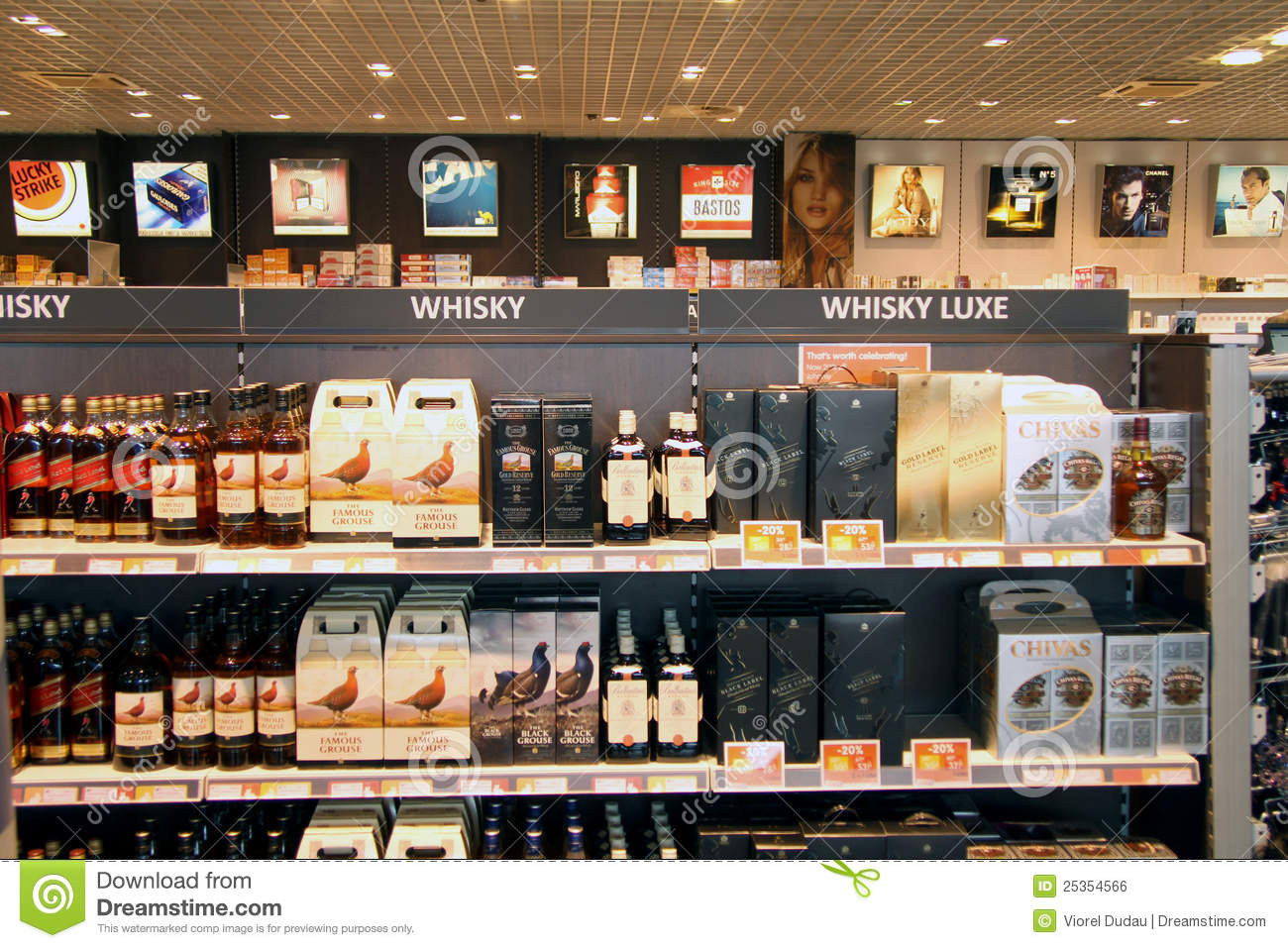 Whisky and tobacco in duty free shop editorial photo - Boutique free mulhouse ...