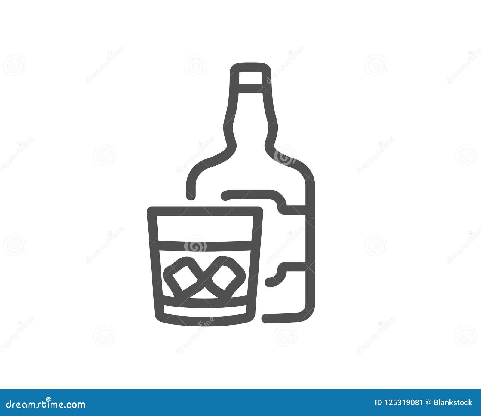 Whiskyexponeringsglas med linjen symbol för iskuber Skotsk whiskyalkoholtecken