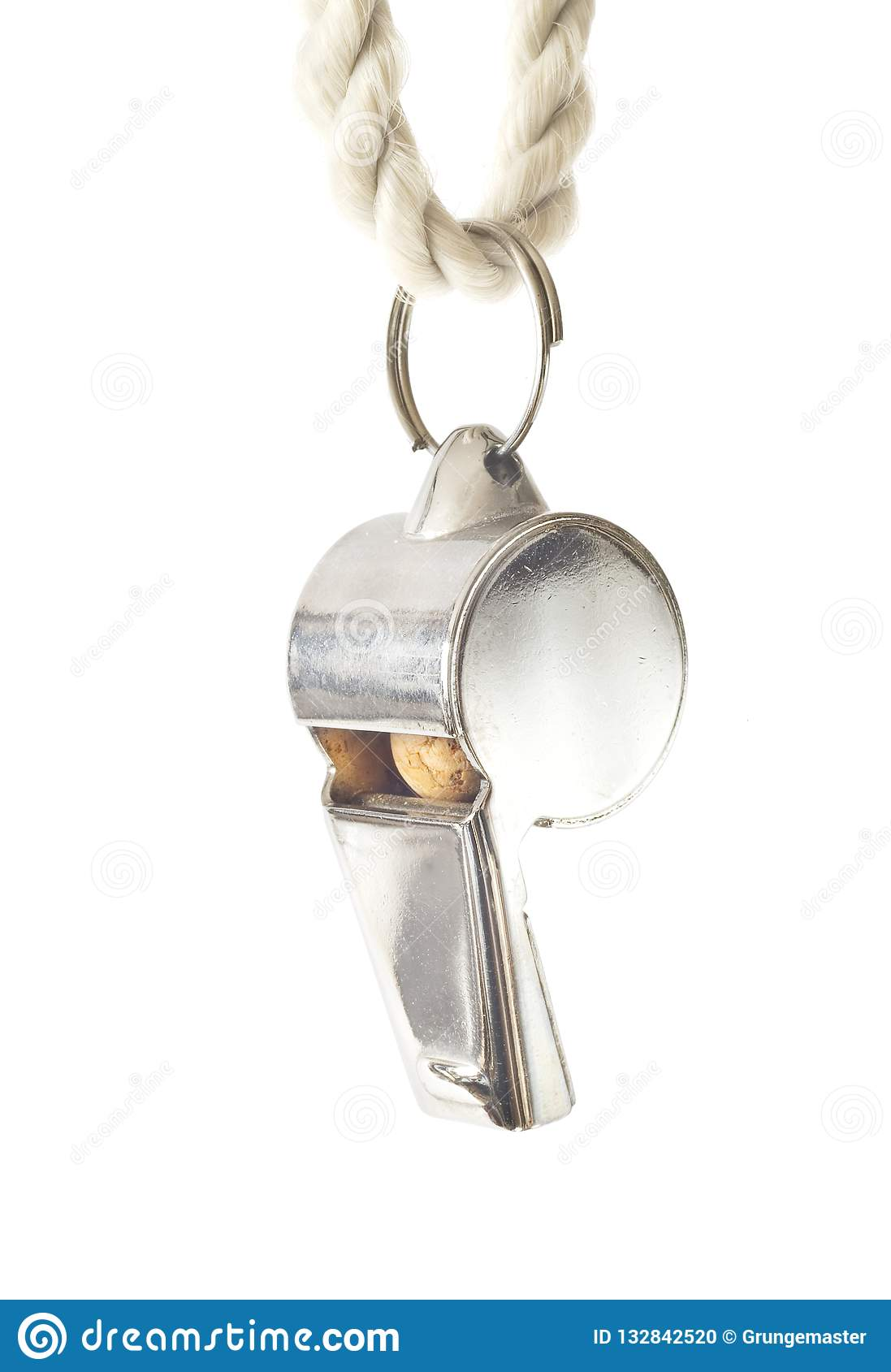 Whistle of a soccer / football referee, isolated on white