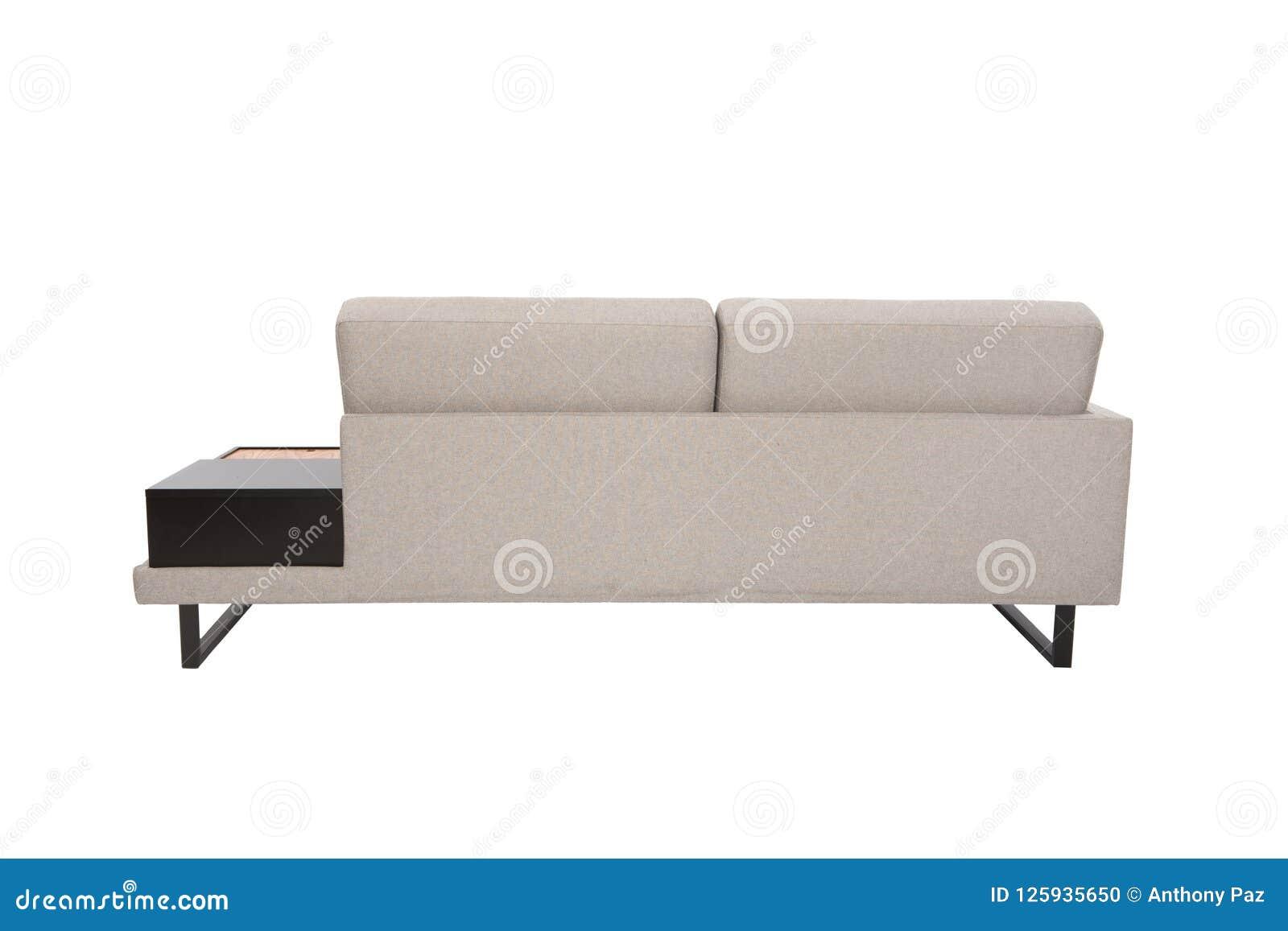 Whit cinzento da tela do sofá moderno preto e detalhes de madeira isolados
