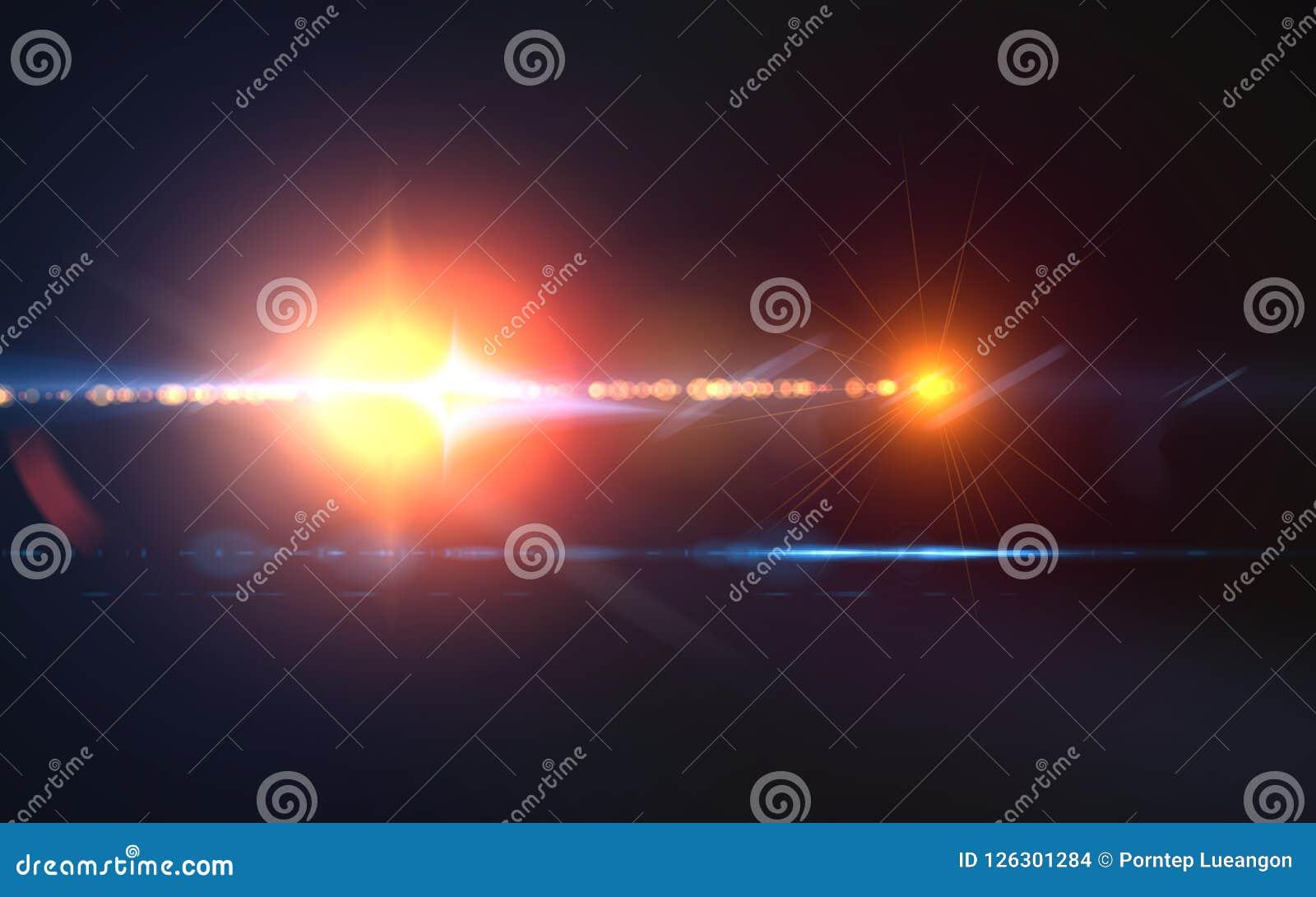 Whit van de aarbal gloed van de strook de digitale rode lens op zwarte horizontale achtergrond