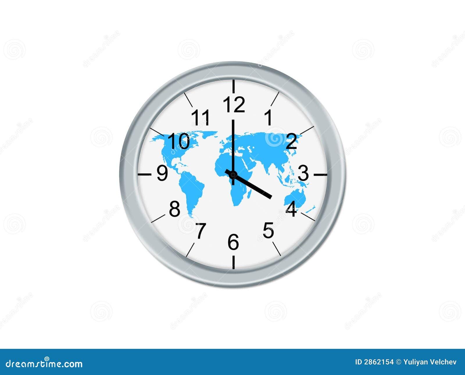 Whit van de klok wereldkaart stock afbeeldingen afbeelding 2862154 - Klok cm ...