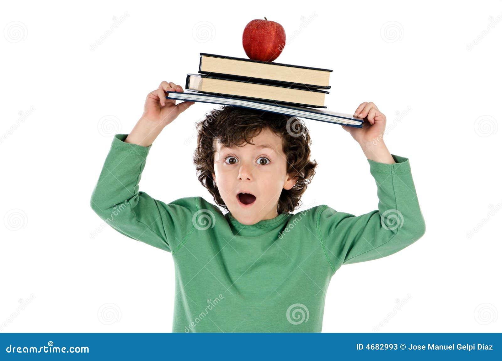 Whit van het kind boek en appel stock afbeelding afbeelding 4682993 - Bereik kind boek ...