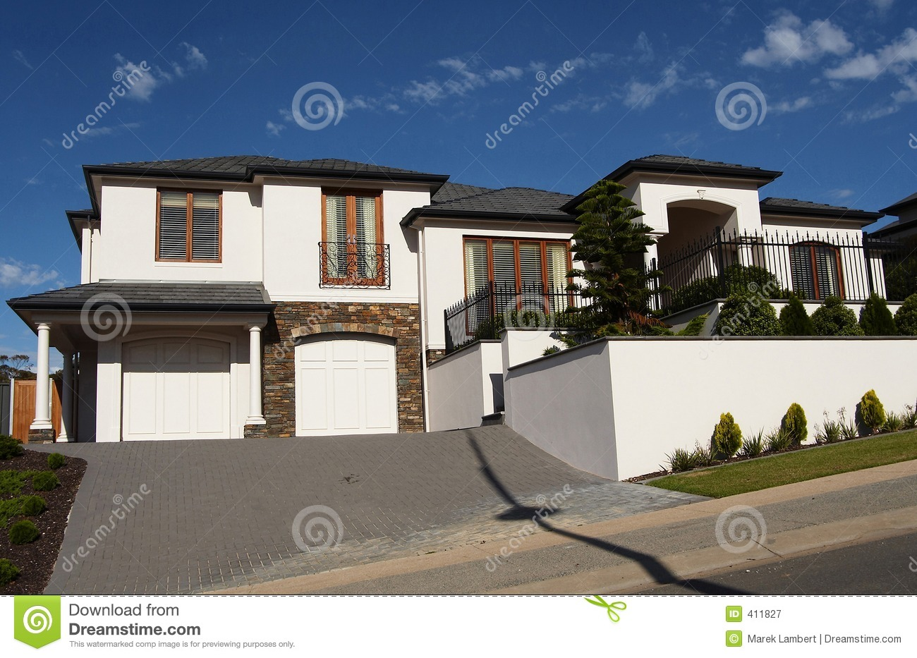 modern two storey house with a balcony royalty free stock image