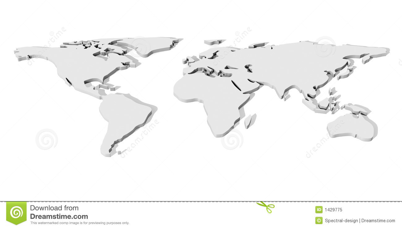 White 3d world map stock illustration image of continents 1429775 white 3d world map royalty free stock photo gumiabroncs Choice Image