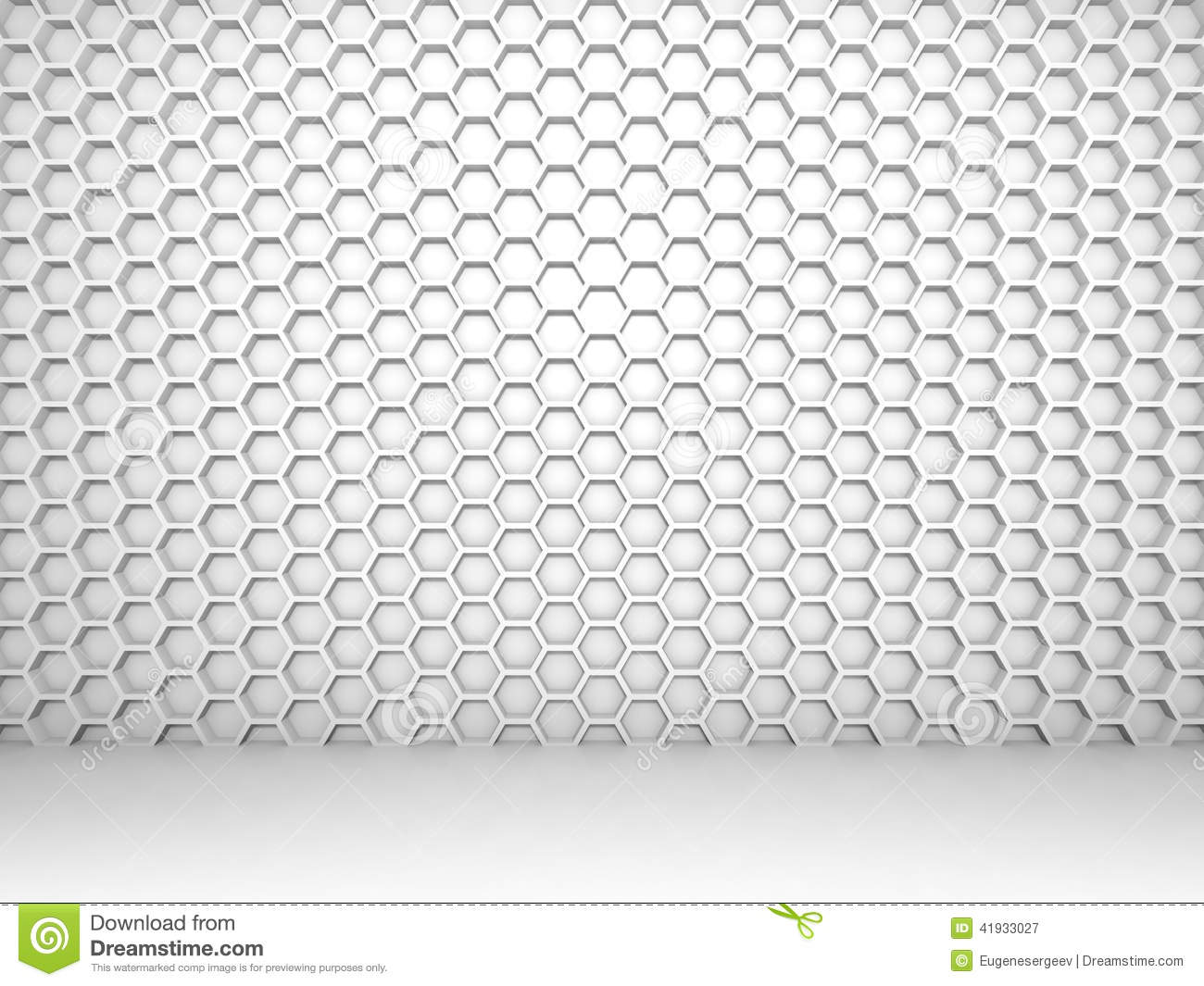 White Abstract 3d Interior With Honeycomb Pattern Stock