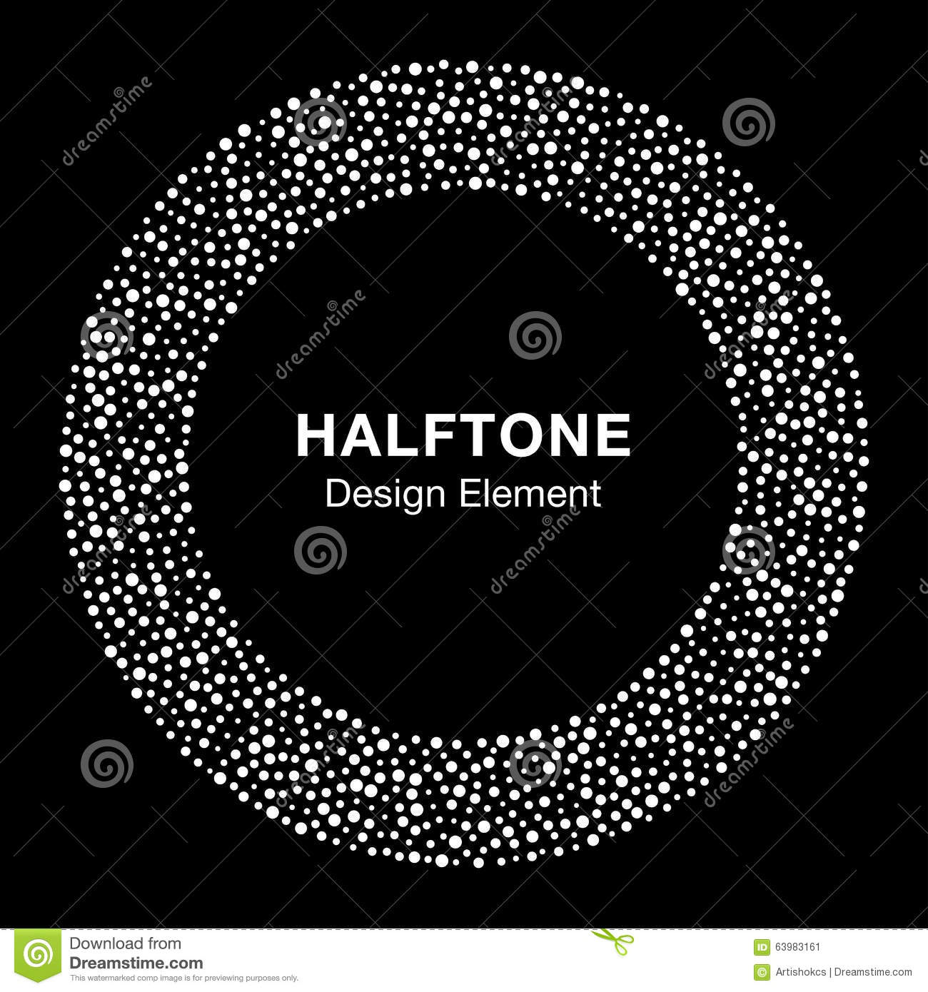 White Abstract Halftone Circle Logo Design Element On ...