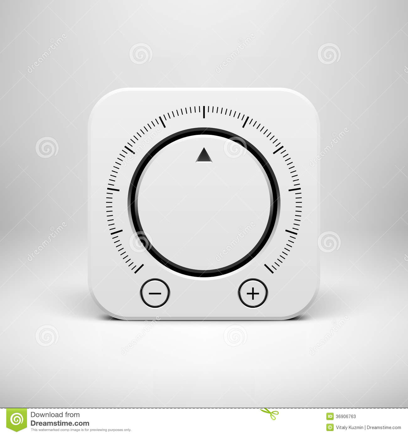white abstract icon with volume knob button stock vector