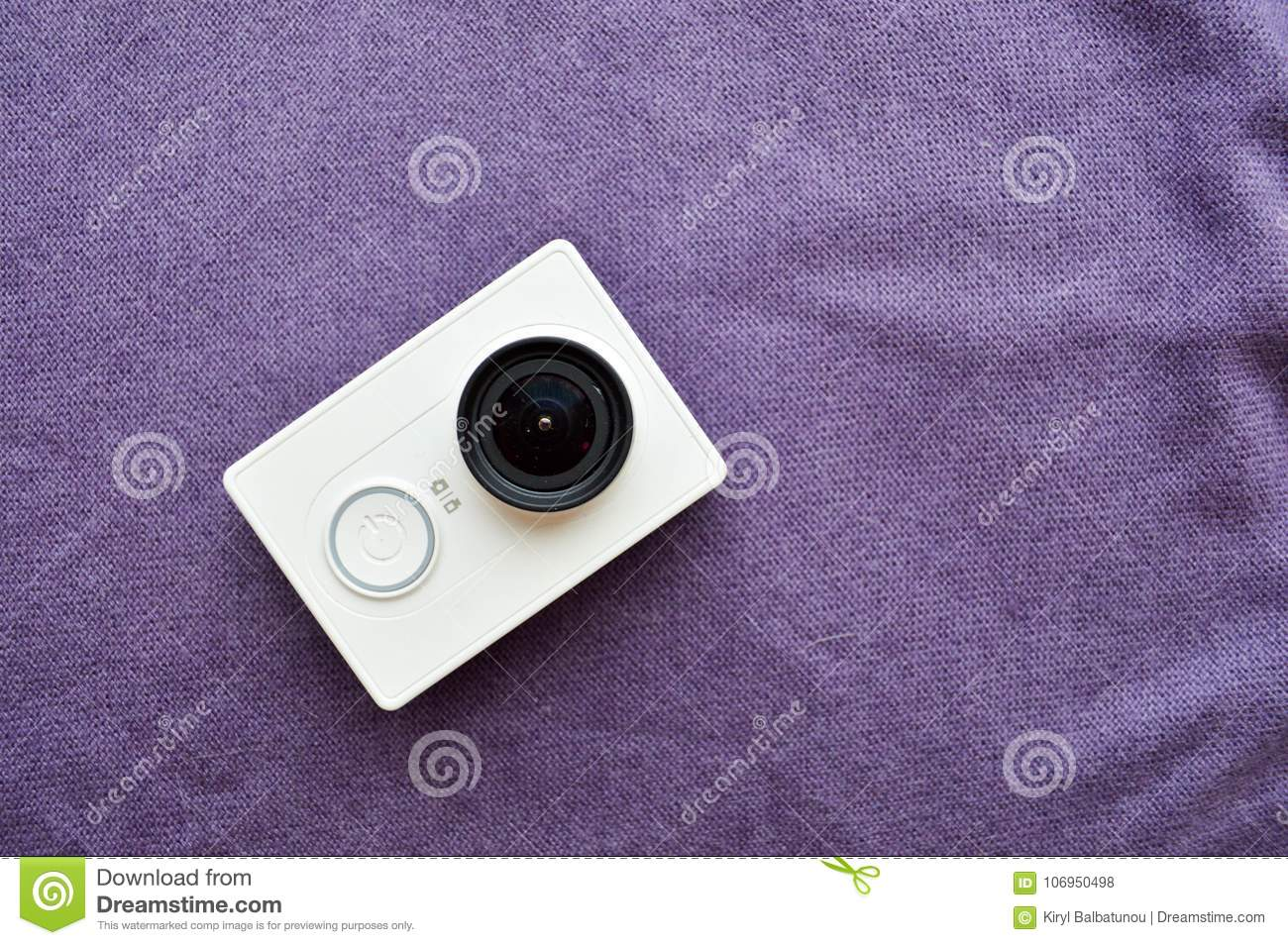 White action camera with a large black len