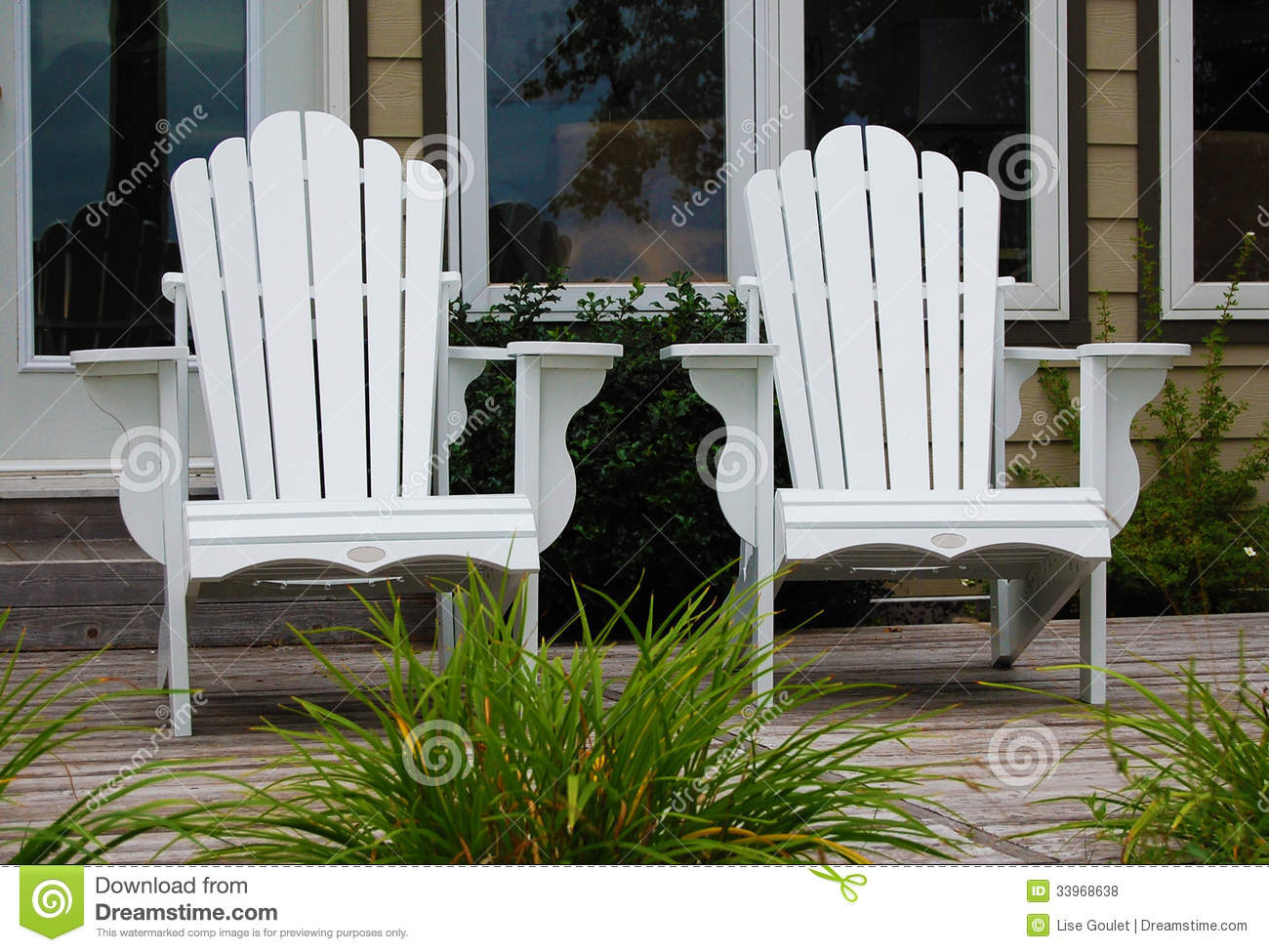 White Adirondack Chairs Royalty Free Stock Photos Image