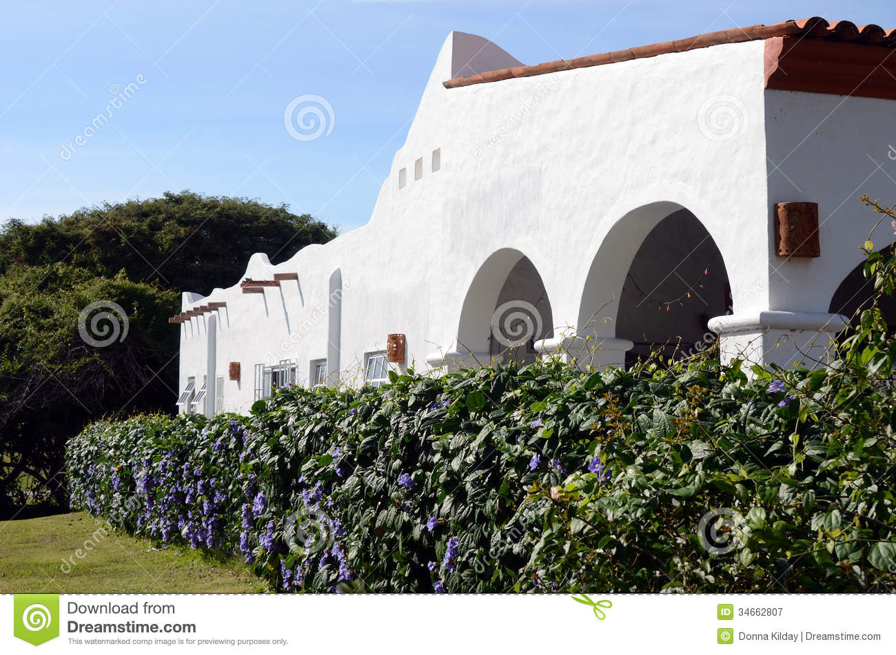 White Adobe House Stock Image Image Of Home Flowers