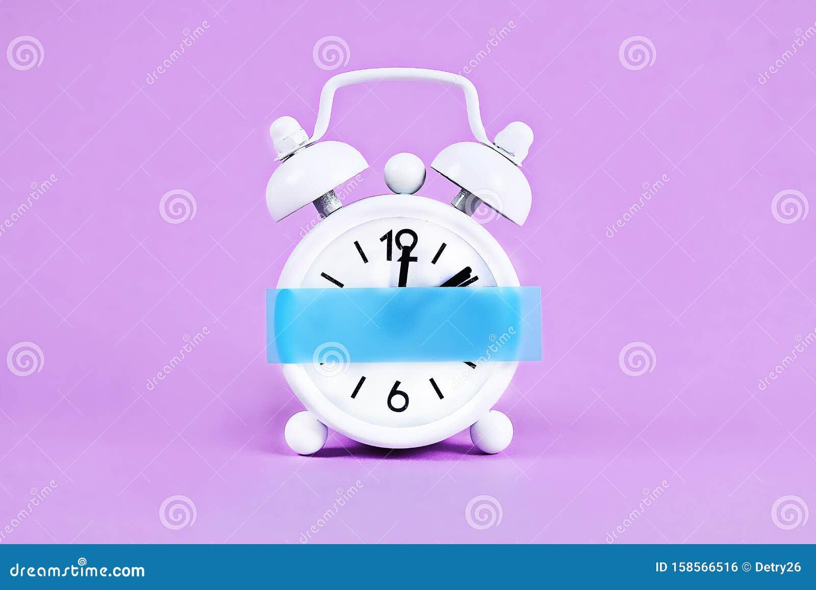 White Alarm Clock Violet Pastel Background. Blank Sticky ...