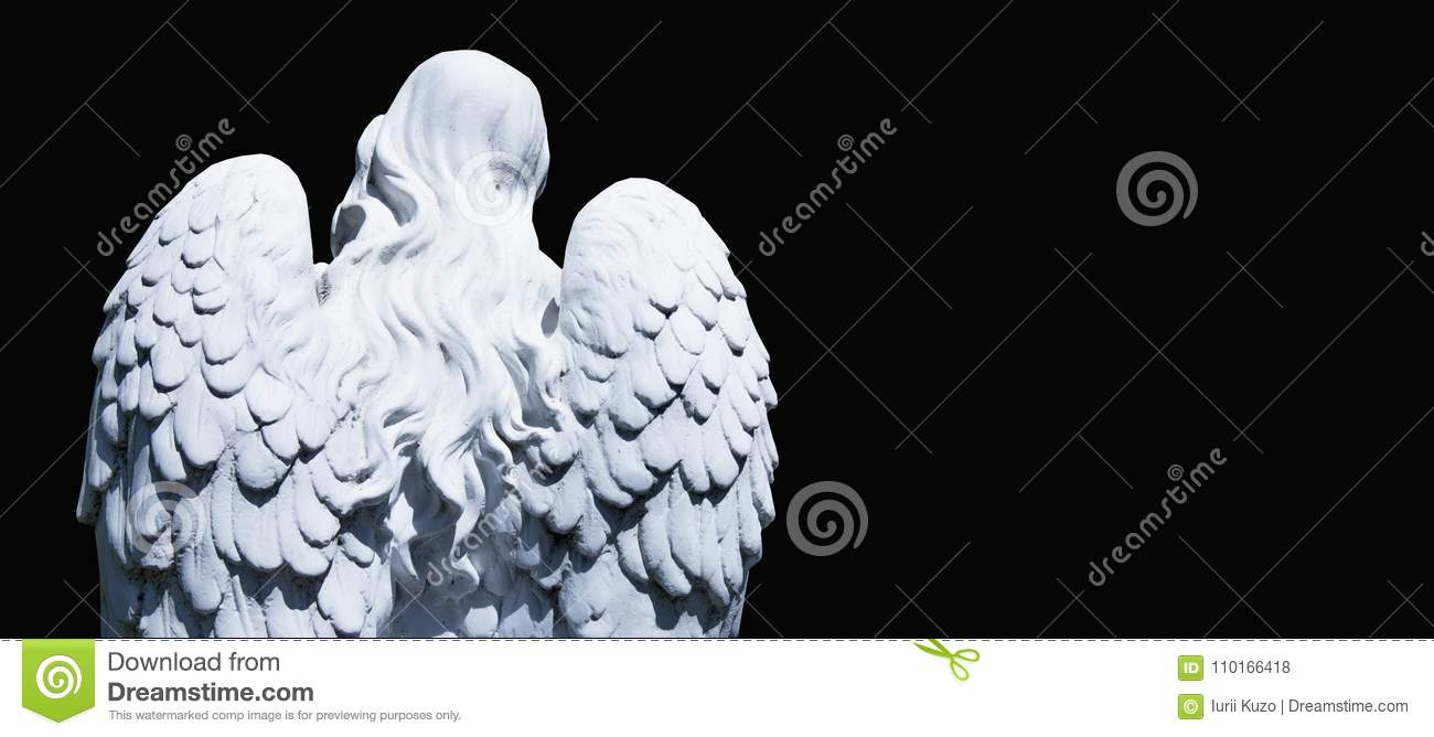 White angel of death against black background as a symbol of the