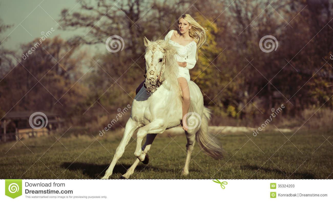 White Angel Riding A Pure White Horse Stock Photos - Image: 35324203