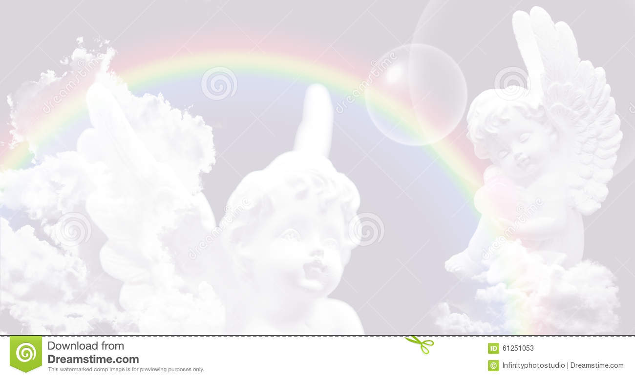 White angels on the sky with rainbow